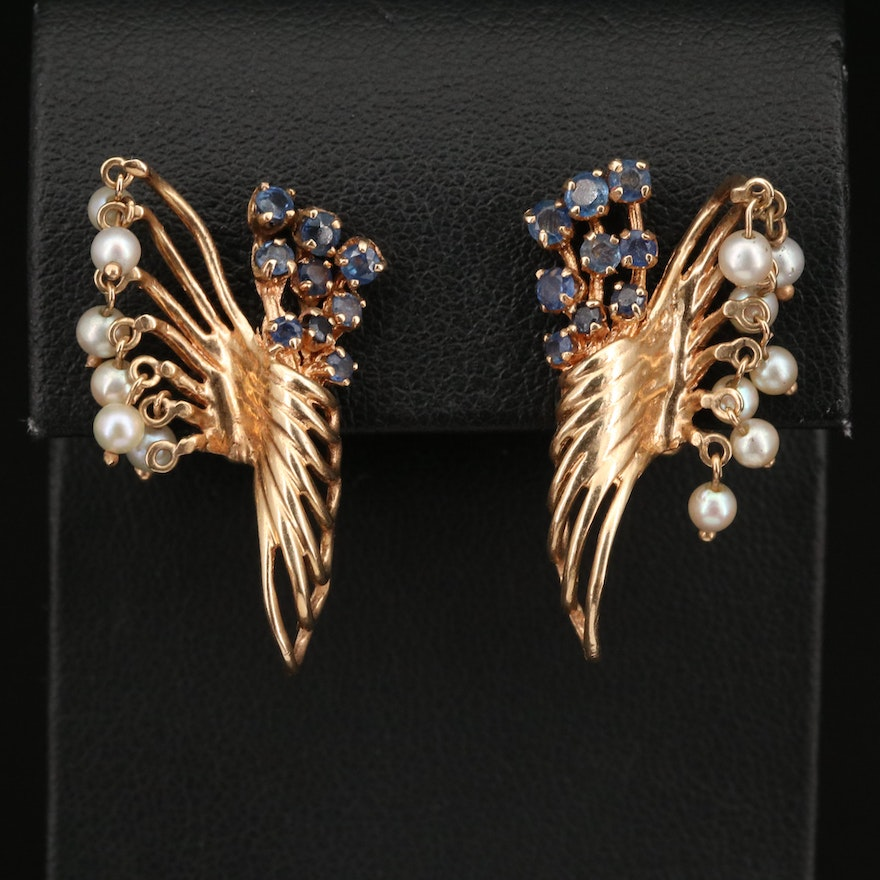 Vintage 14K Sapphire and Pearl Fringe Clip Earrings