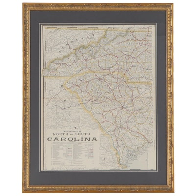 George F. Cram Railroad and County Map of Western North and South Carolina
