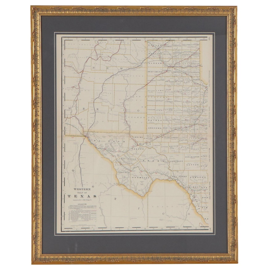 George F. Cram Railroad and County Map of Western Texas, circa 1905