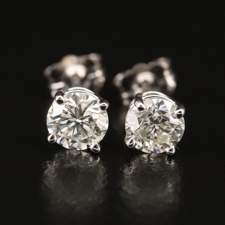 14K 1.03 CTW Diamond Stud Earrings with GIA eReports
