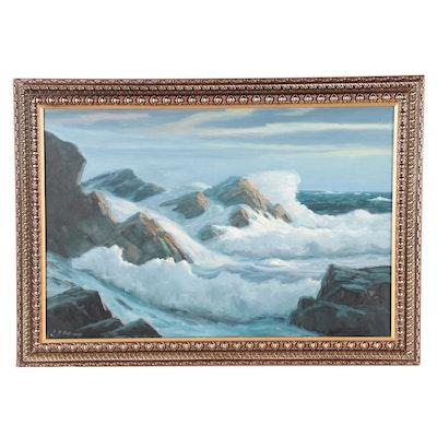 George Holloway Coastal Landscape Oil Painting