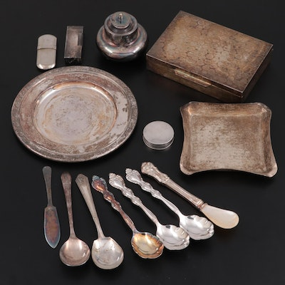 Spink & Son Sterling Silver Pill Box with Other Silver Plate Flatware and Décor
