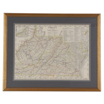 George F. Cram Railroad Map of Virginia and West Virginia, circa 1905