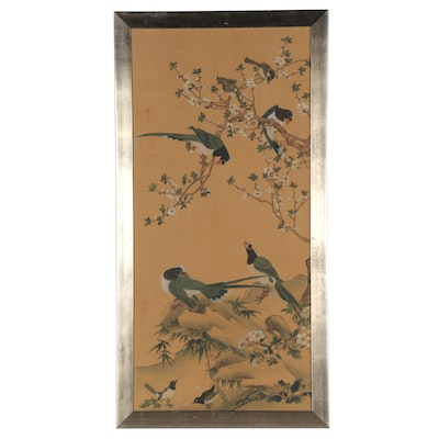 Chinese Style Gouache Painting of Birds and Flowers