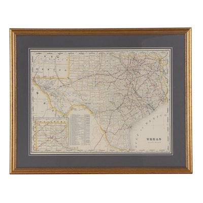 "George F. Cram Wax Engraving Railroad Map ""Texas,"" circa 1905"