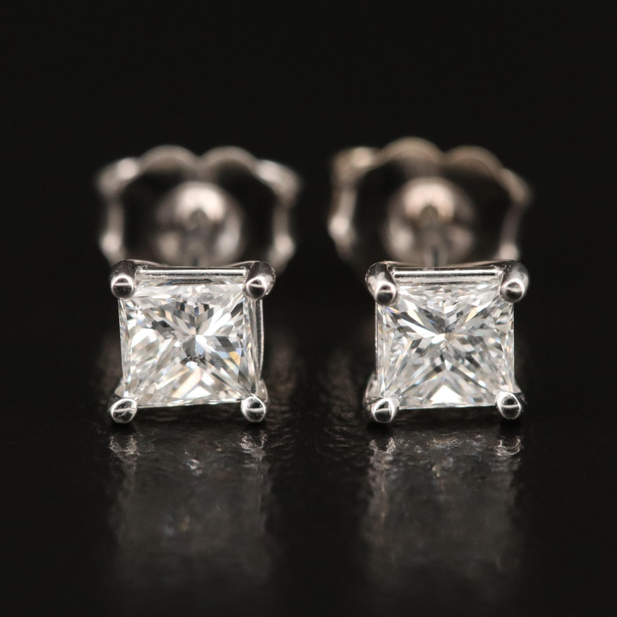 14K 0.89 CTW Diamond Stud Earrings with GIA Diamond Dossier