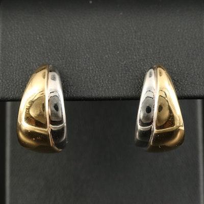 14K Two-Tone J Hoop Earrings