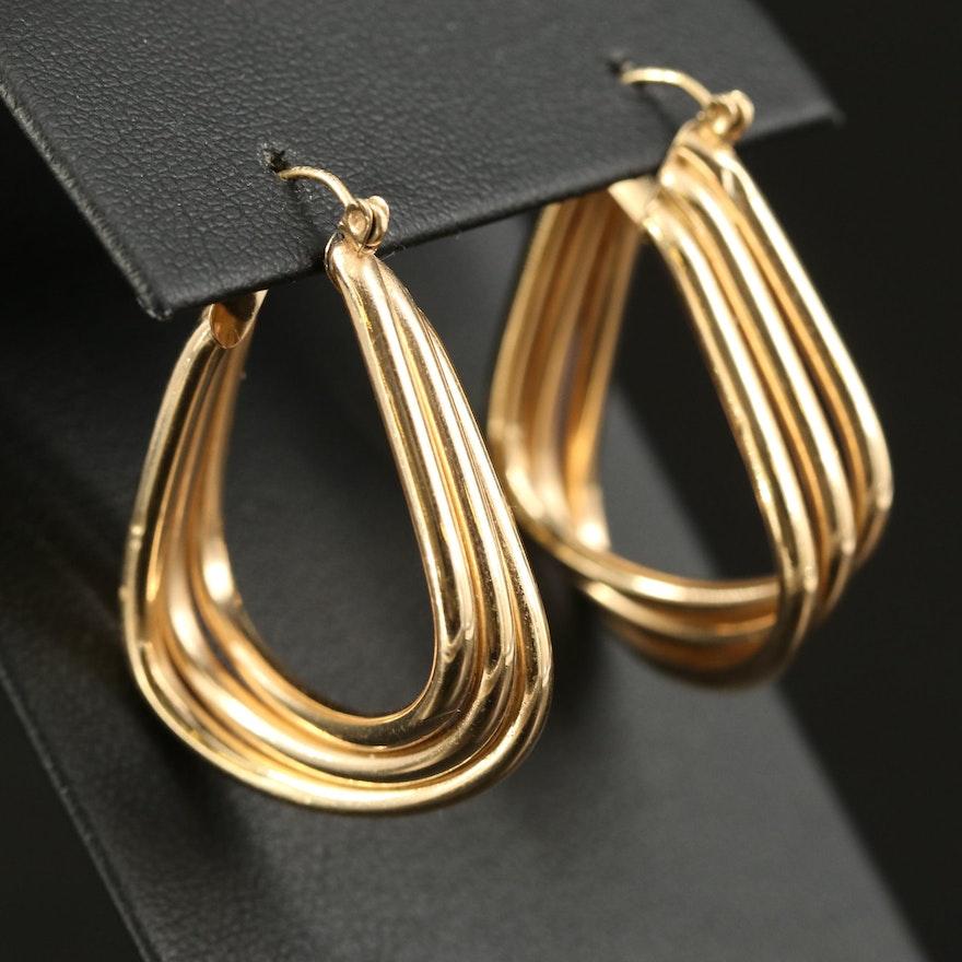14K Triple Hoop Tube Earrings