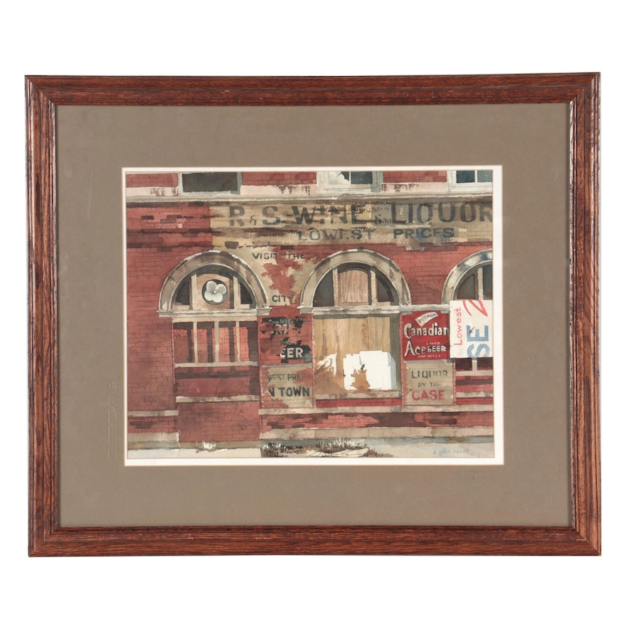 A. Glen Resch Watercolor Painting of Chicago Street Scene, Late 20th Century