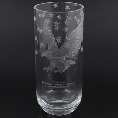 Perry Coyle Commemorative Etched Glass Vase