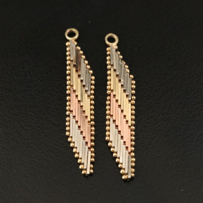 14K Tri-Colored Gold Riccio Earring Enhancers