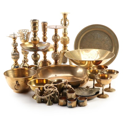 Middle Eastern Brass Charger with Assorted Brass Tableware Collection