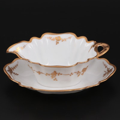 German Hand-Painted Porcelain Sauce Boat, Early to Mid 20th Century