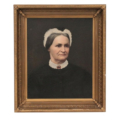 American School Oil Portrait of Woman, Mid-19th Century