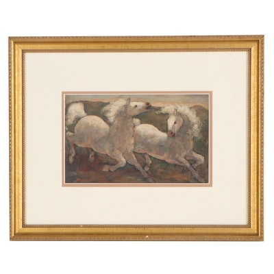 Charles Burdick Oil Painting of Horses, Mid-Late 20th Century