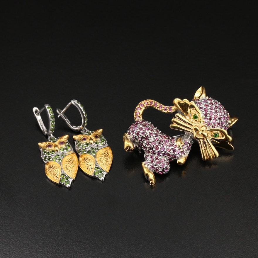 Sterling Cat Brooch and Owl Earrings with Garnet and Diopside