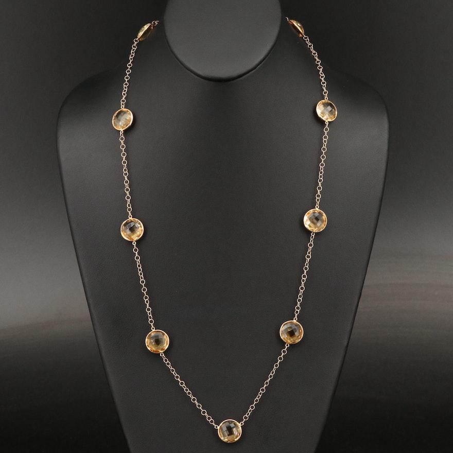 14K Citrine Station Necklace