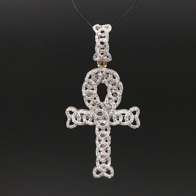 10K Diamond Ankh Pendant