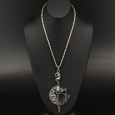 Victorian Style Sterling Silver Faux Turquoise Monocle Pendant Necklace