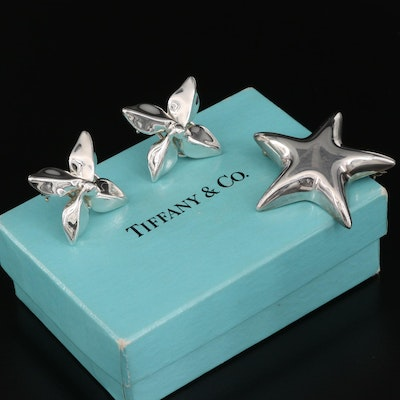 Tiffany & Co. Sterling Silver Puffed Star Brooch and Plumeria Earrings