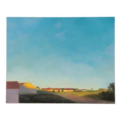 """Bruce Erikson Landscape Oil Painting """"Champaign, IL,"""" 2000 - 2001"""