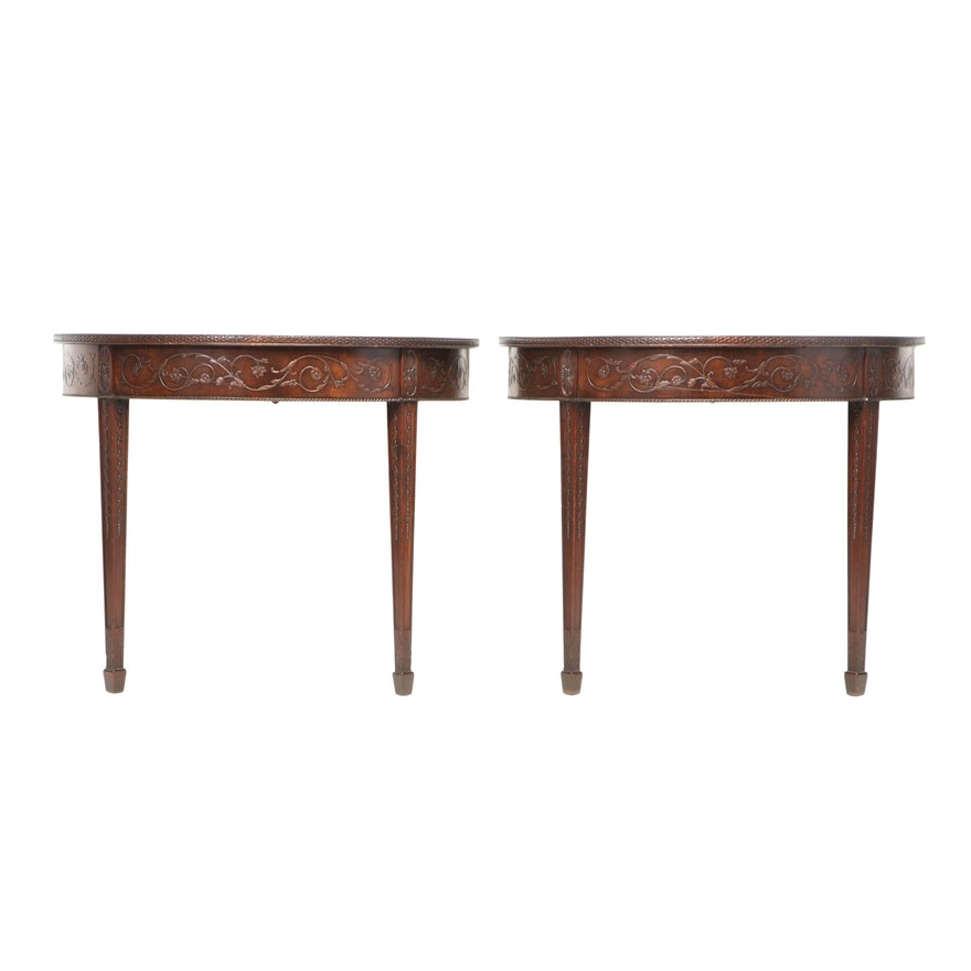 Pair of Robert Adam Style Carved Mahogany Console Tables, Late 19th Century