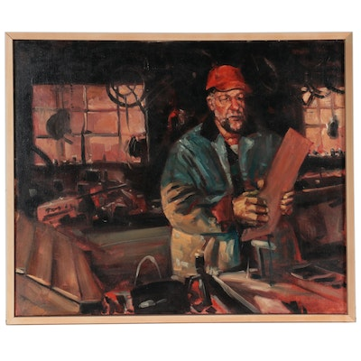 """Bruce Erikson Oil Painting """"In the Shop,"""" 1995"""