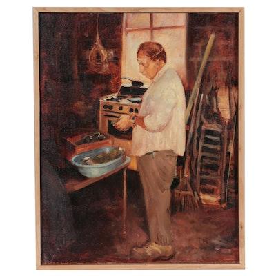 """Bruce Erikson Oil Painting """"Portrait of Aging Zeus,"""" 1996"""