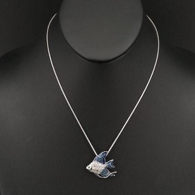 14K Diamond and Tsavorite Garnet Angelfish Pendant Necklace