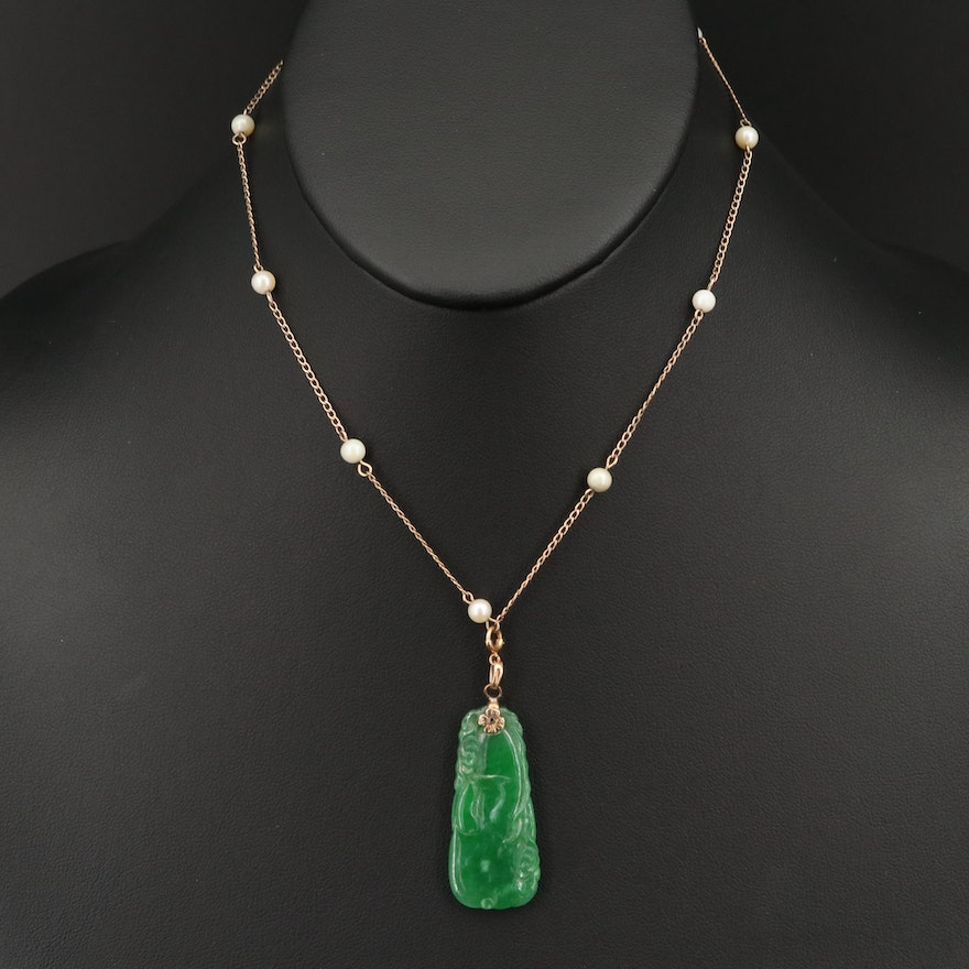 Vintage Pearl Station Necklace with Carved Jadeite Pendant