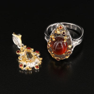 Sterling Silver Garnet and Citrine Biomorphic Pendant and Ring