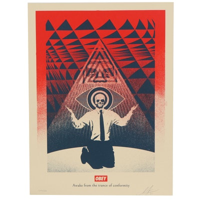 """Shepard Fairey Serigraph """"Obey Conformity Trance Red,"""" 2021"""