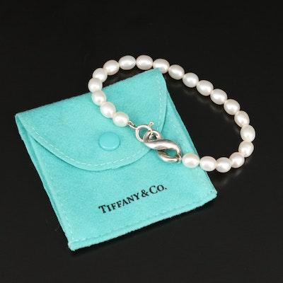 """Tiffany & Co """"Infinity"""" Sterling Silver Pearl Bracelet"""