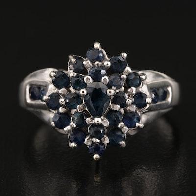 14K Sapphire Cluster Ring