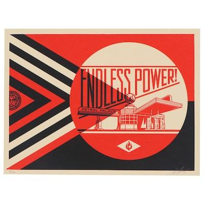 "Shepard Fairey Serigraph ""Endless Power Petrol Palace (Red)"""