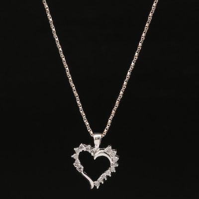 10K Diamond Open Heart Pendant on Sterling Silver Necklace
