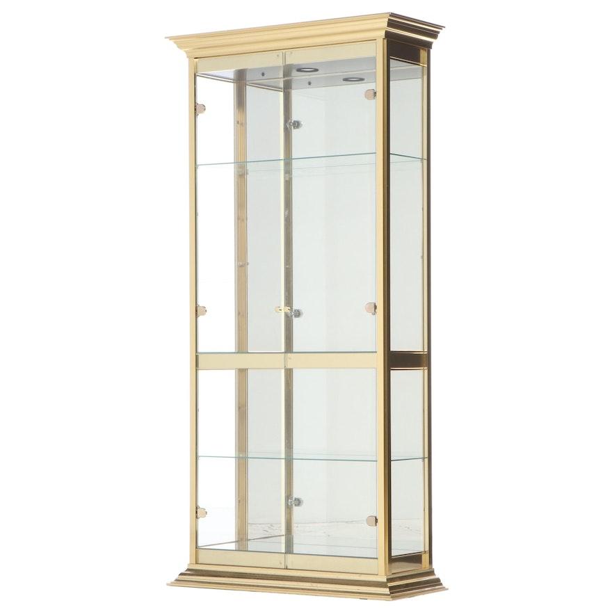 Brass Mirror-Back Display Cabinet