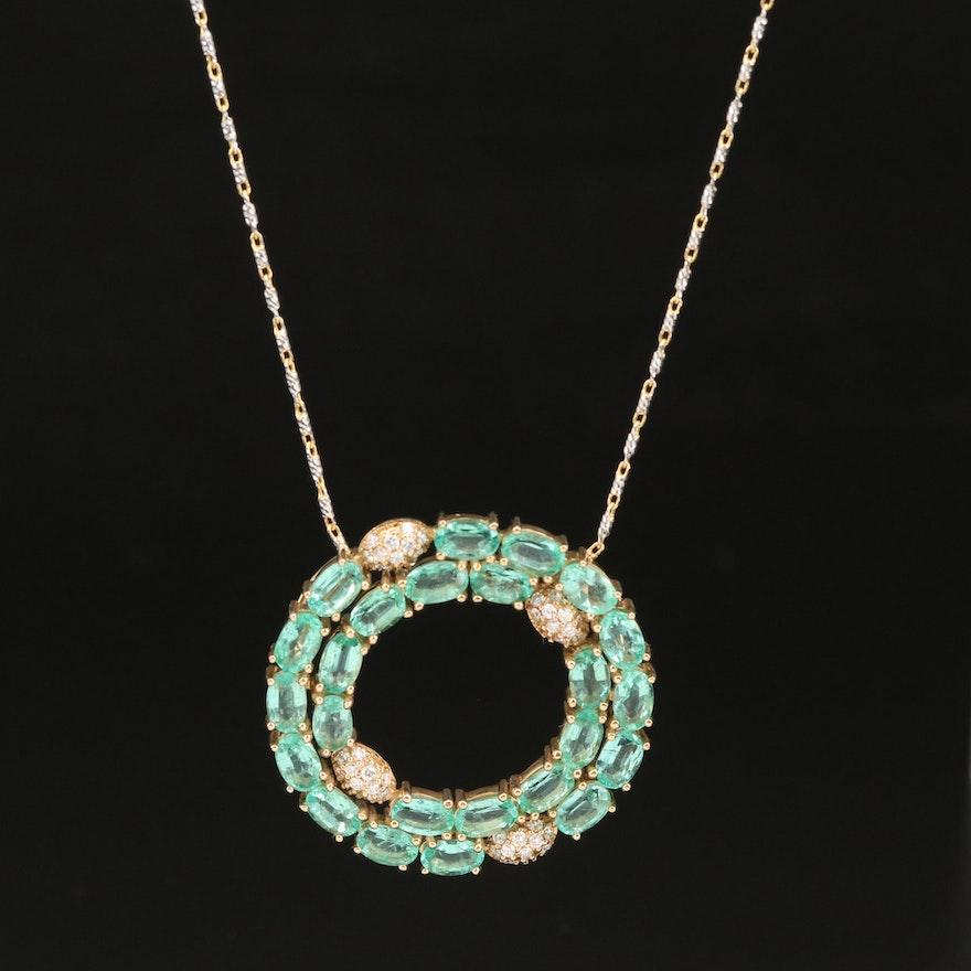 14K Diamond and Emerald Pendant Necklace
