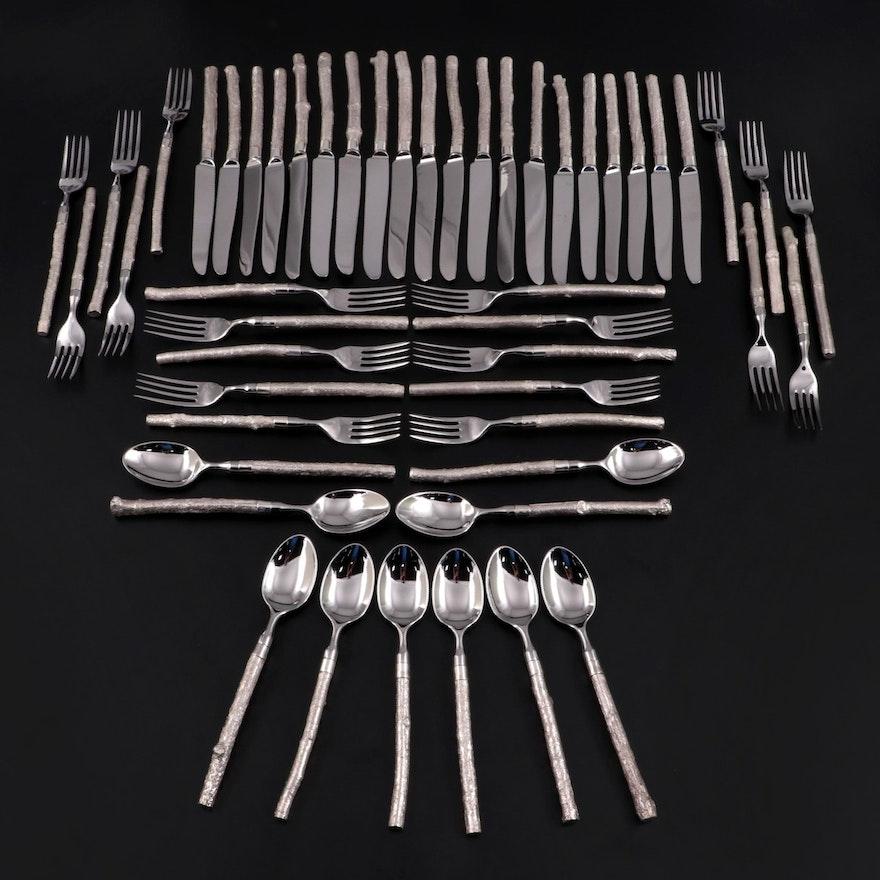 American Sterling Silver Heavy Faux Bois Flatware Set
