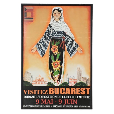 "Romanian Travel Poster Offset Lithograph after Mazelsan ""Visitez Bucarest"""