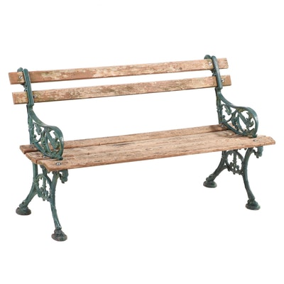 Green-Painted Cast Iron and Slatted Wood Garden Bench, 20th Century