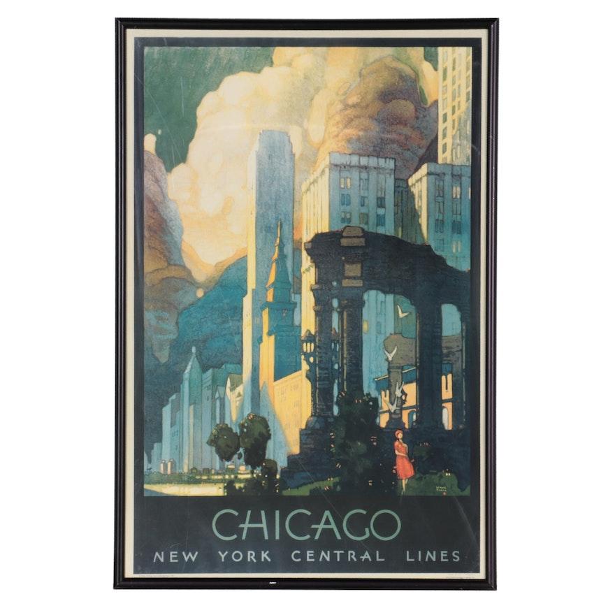 Chicago Travel Offset Lithograph Poster after Leslie Darrell Ragan, circa 2000