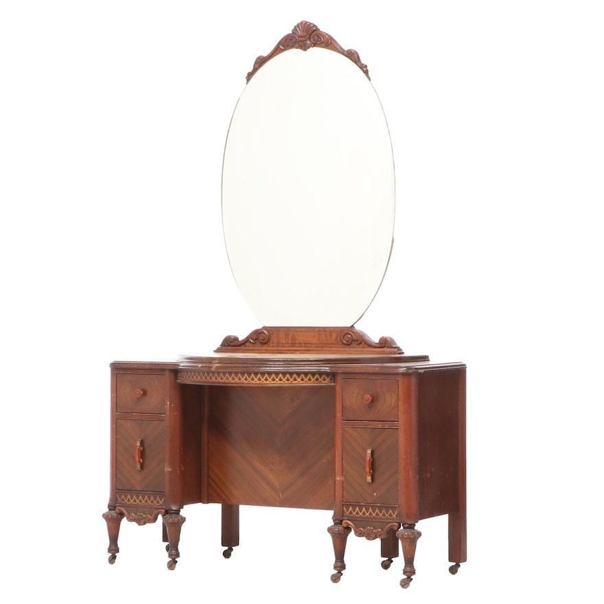 Louis XVI Style Walnut and Burlwood Vanity Table, circa 1930