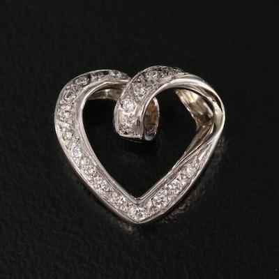 18K Diamond Heart Slide Pendant