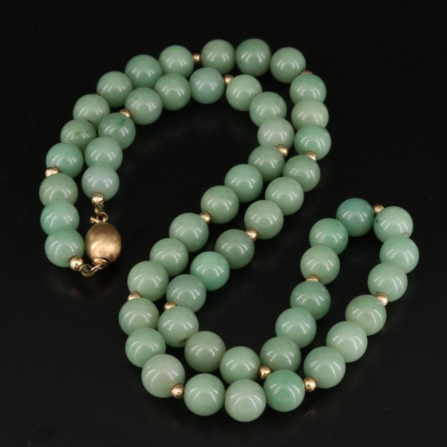 14K Aventurine Beaded Necklace
