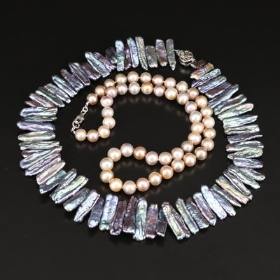 Glass and Pearl Necklaces with Sterling Clasp
