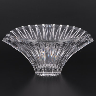 Crystal Fan Shaped Centerpiece Bowl, Late 20th Century