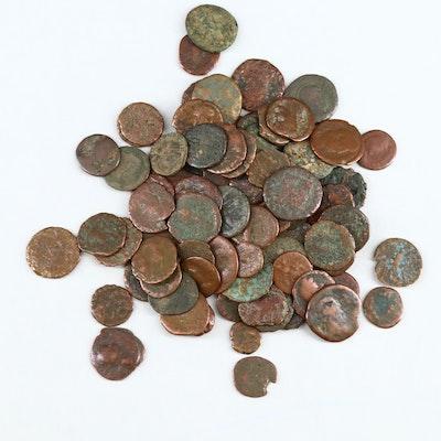 "85 Ancient Bronze ""Roman Widow's Mite Sized"" Coins, ca. 50 BC – 400 AD"