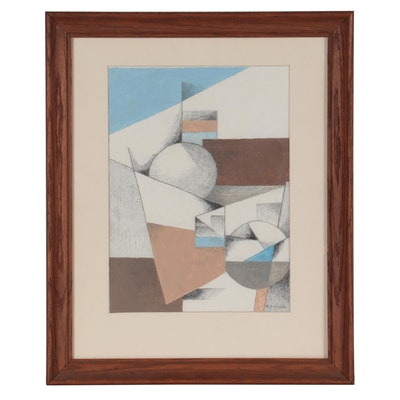 """Robert Szesko Abstract Acrylic and Graphite Drawing """"Tenuous Constructs"""""""