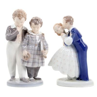 "Royal Copenhagen ""Flight to America"" and Bing & Grøndahl ""First Kiss"" Figurines"